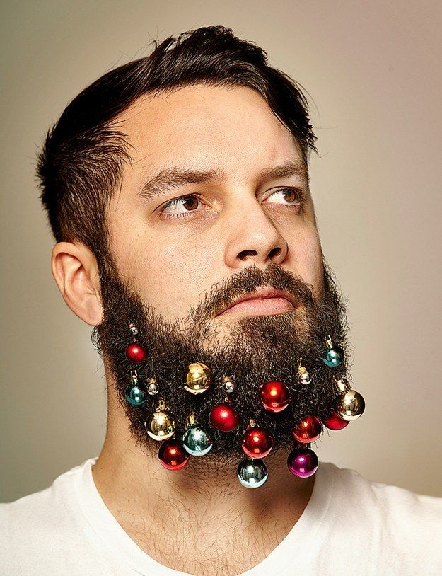 Fans of flower beards, rejoice! There�s now a festive winter alternative. | These Guys Created Beard Ornaments To Decorate Your Face For The Holidays