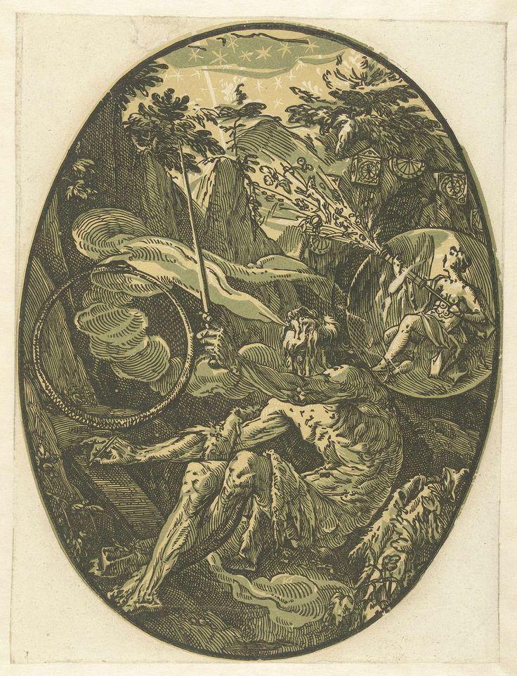 Hendrick Goltzius   Demogorgon in de Grot van de Eeuwigheid, Hendrick Goltzius, 1586 - 1590   Demogorgon, de vader van alle goden, zit in zijn grot. Naast hem een slang die in zijn eigen staart bijt, symbool van de eeuwigheid. Aan zijn andere zijde een vrouw met vele borsten (Diana van Efese), symbool van de natuur. Deze prent is onderdeel van een serie van zeven ovale prenten van klassieke goden en godinnen.
