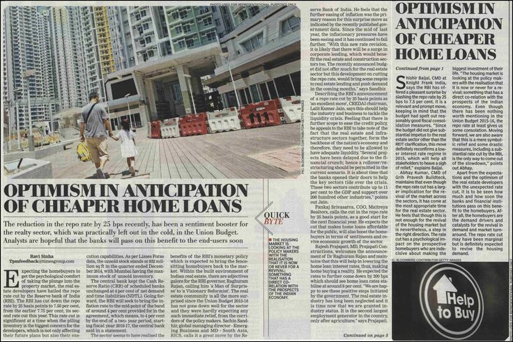 Optimism In Anticipation Of Cheaper home Loans. #propertynews   #realestatenews
