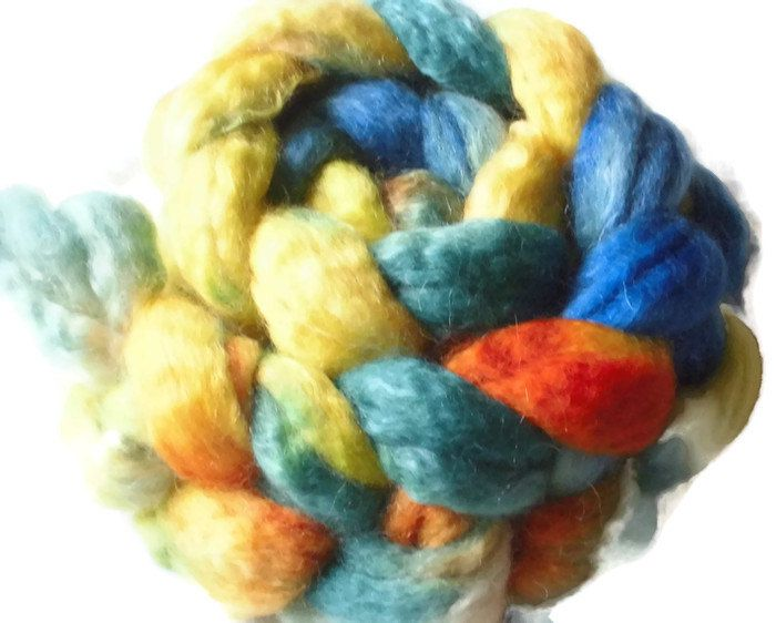 "SW BFL Wool And Mohair Roving - Handpainted Spinning - ""Pippi Longstocking"""