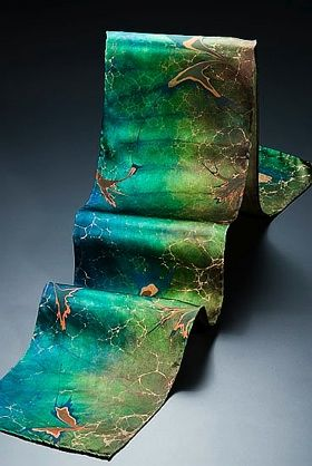 "Laura Sims, ""Falling Leaves; she's teaching hydro-printing on textiles at Penland March 24- 30, 2013."