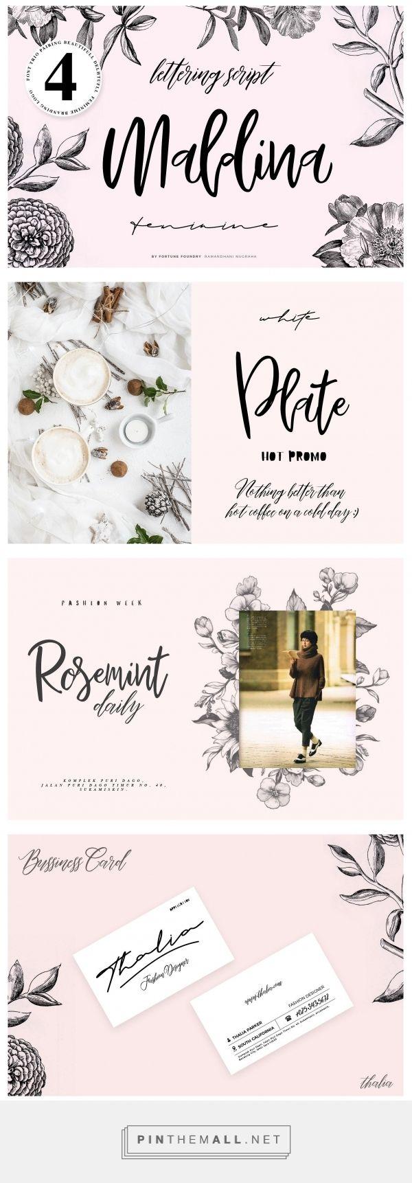Maldina Feminime (4 fonts) | Girly fonts, Font pairing, Cards