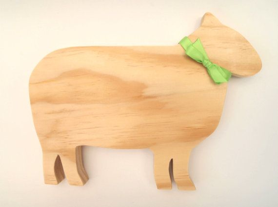 Handmade Decorative Wooden Standing Sheep by TwoandSixCreations