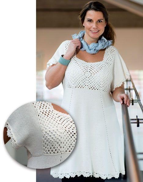 Strik selv: Flot hvid tunika med hæklet bærestykke - Hjemmet DK