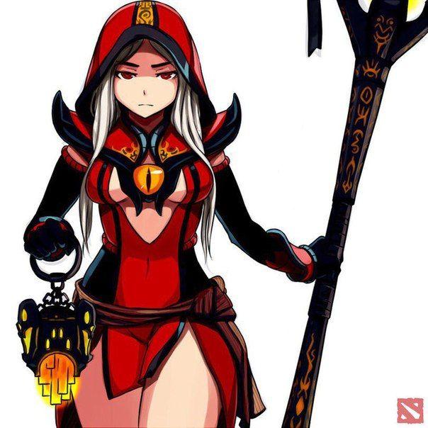 Dota 2 - female Warlock in anime style