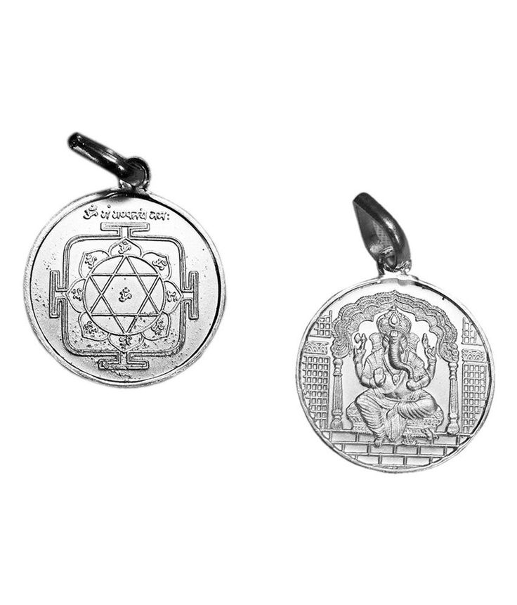 Traditional Ganesh Yantra Locket In Pure Silver Hinduism Ganpati Bappa