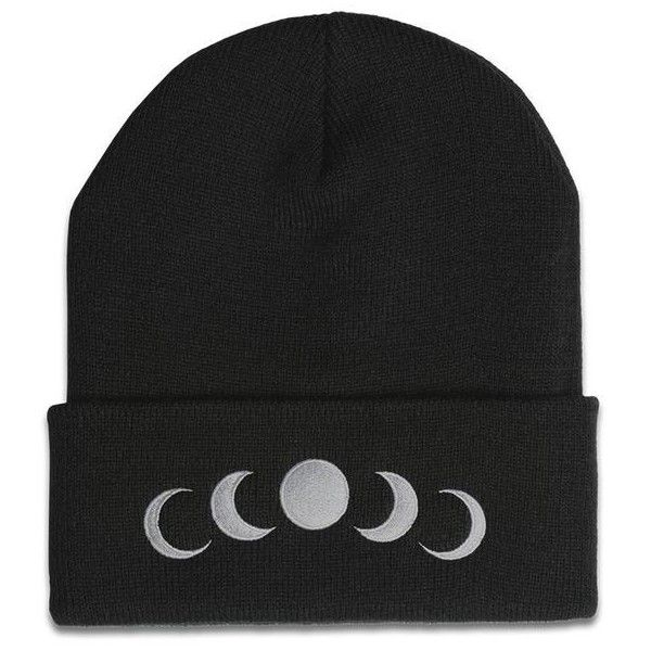 Phases Beanie in Black (4.620 RUB) ❤ liked on Polyvore featuring accessories, hats, head wear and gloves, silver hat, beanie cap hat, embroidered beanie, beanie hat and embroidered hats