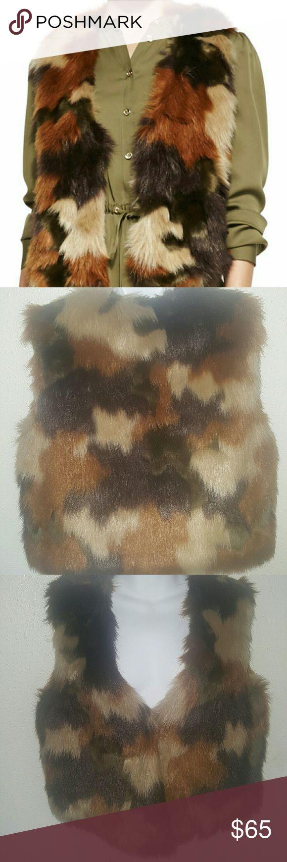 Vest Michael Kors camo faux fur Michael Kors Jackets & Coats Vests
