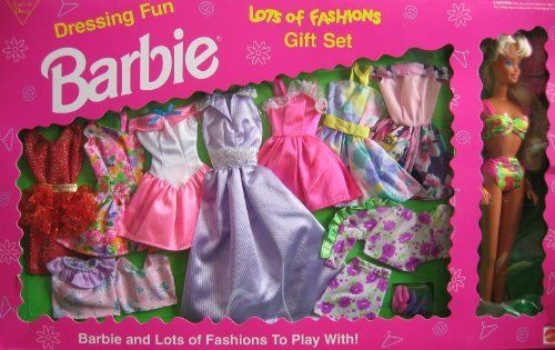 "Dressing Fun BARBIE Lots of Fashions Gift Set w Barbie Doll (1993 Arcotoys, Mattel) by Arcotoys, Mattel. $149.99. Dressing Fun Barbie Lots of Fashions Gift Set is a 1993 Arcotoys, Mattel production. Model #9519. Box approx. 21"" x 13"" x 2"".  Includes: Barbie Doll approx. 11.5"" tall with blond hair & blue eyes. Barbie Doll wears a 2 piece Bathing suit (pink, yellow & green tones), & comes with a glittery red & gold Dress, a red & gold lace Over Skirt w/gold waistband, a flora..."