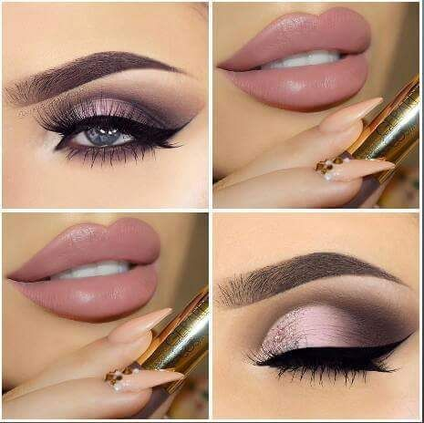 Rose Gold Eye liner With Mute Peach Lips