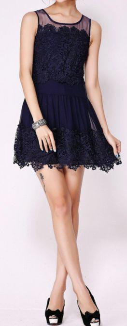 Navy Lace Dress.  dresslily.com