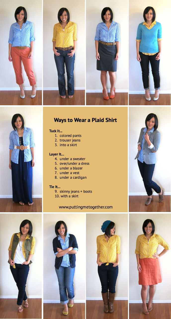 This site is great for putting outfits together and actually using the clothes in your closet!  Putting Me Together: 10 Ways to Wear a Plaid Shirt