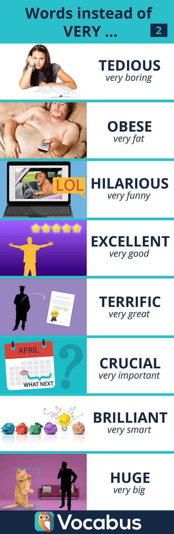 Kolejna paczka przymiotników, które warto używać zamiast zdań z 'very...'. Im bogatsze słownictwo, tym ... łatwiej się porozumieć. :) Nauka, angielski, słówka, słownictwo, przymiotniki