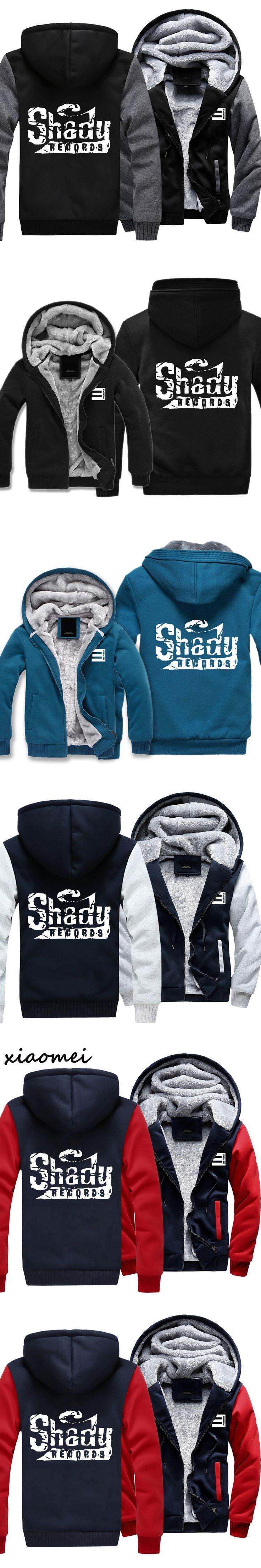 2017 New Men Hoodies Autumn Winter  Eminem Rap Hoody Fleece Hip Hop Sweatshirt Casual  Sudaderas Hombre  Cardigan