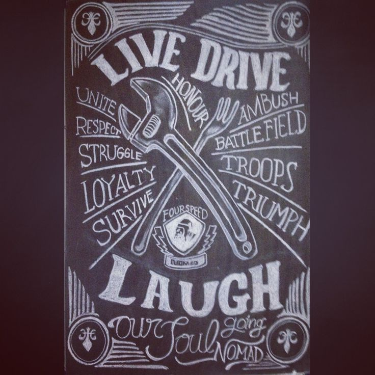 Live. Drive. Laugh by colleger typhography and lettering