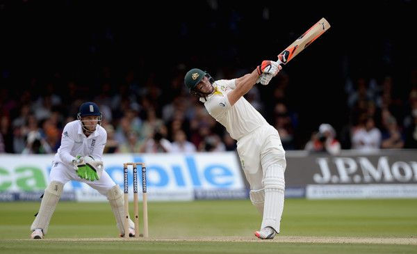 Mitchell Marsh Photos Photos - Mitchell Marsh of Australia hits out for six runs during day four of the 2nd Investec Ashes Test match between England and Australia at Lord's Cricket Ground on July 19, 2015 in London, United Kingdom. - England v Australia: 2nd Investec Ashes Test - Day Four