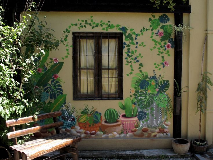 painted wall - the garden starts here ! makes me smile - love it !