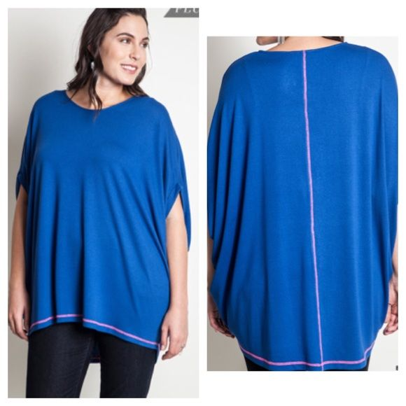 """Blue batwing top (XL 1x 2x) Blue batwing top  Length- approx 32""""  Materials- 65% cotton/ 35% polyester. This is a pretty thick top and it is extremely versatile. It can be dressed up or dressed down. Runs slightly large.  NWOT. Brand new without tags.  Availability- XL•1x•2x • 3•2•1 PLEASE do not purchase this listing. Price is firm unless bundled. No trades Tops"""