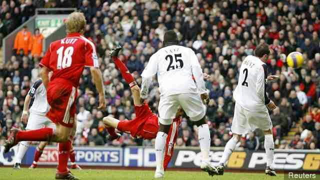 Liverpool 3 Bolton 0 in Jan 2007 at Anfield. Peter Crouch scores a spectacular goal to give Liverpool the lead #Prem