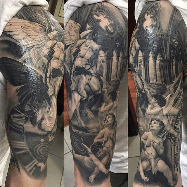 Church and Angels tattoo