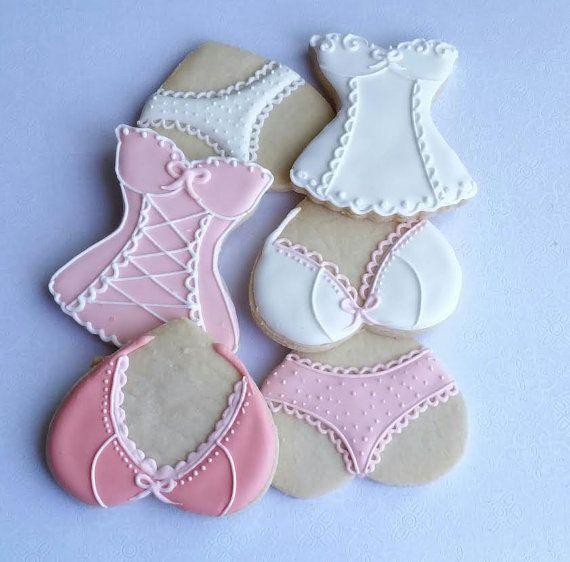 Corset cookies Bachelorette cookies Lingerie cookies by Scookies