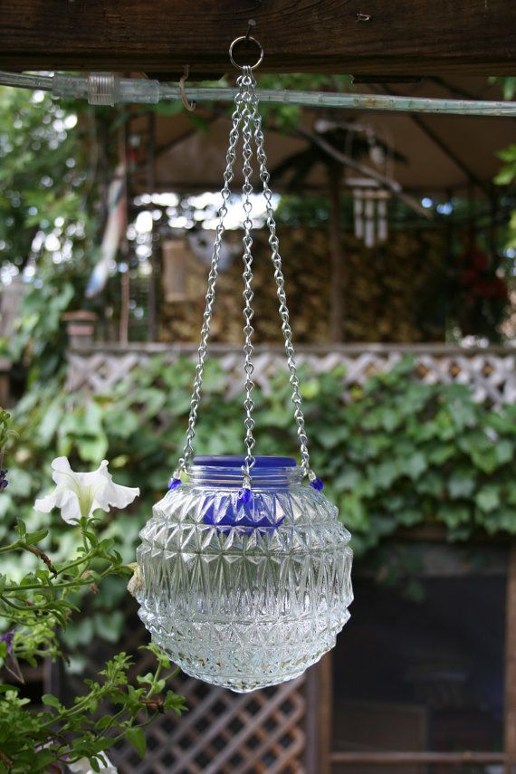 Repurposed Light Globe Hanging Candle Lantern