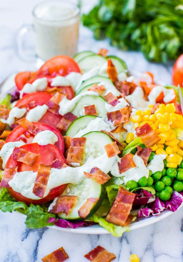 BLT Chopped Salad with Homemade Creamy Buttermilk Ranch Dressing - Fast, fresh, healthy & satisfying!