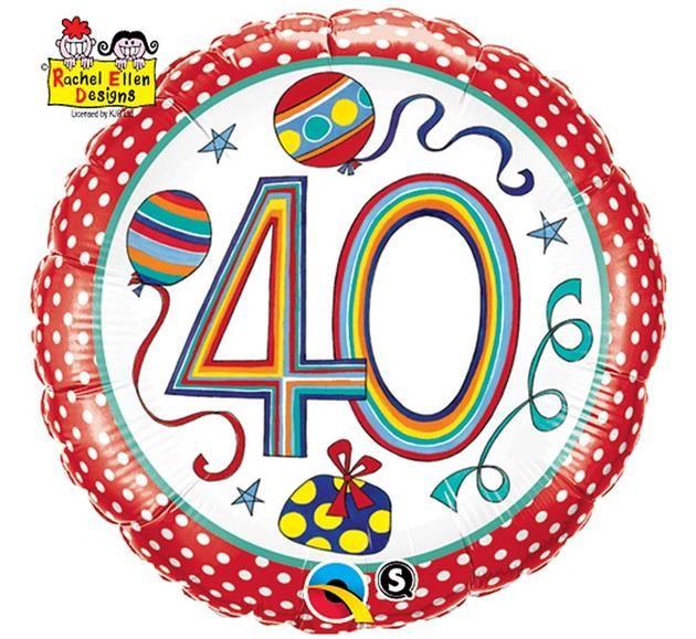 """Balon foliowy 18"""" (ok. 46 cm) z dwustronnym nadrukiem w paski i grochy na 40-te urodziny. Doskonała dekoracja na przyjęcie urodzinowe z okazji 40-tych urodzin."""
