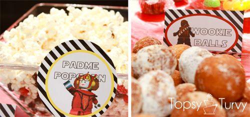 star wars food: Padm Popcorn, Lego Star Wars, Stars War Parties, Star Wars Birthday, Lego Stars War, Star Wars Party, Stars War Birthday, Birthday Party Foods, Birthday Parties Food