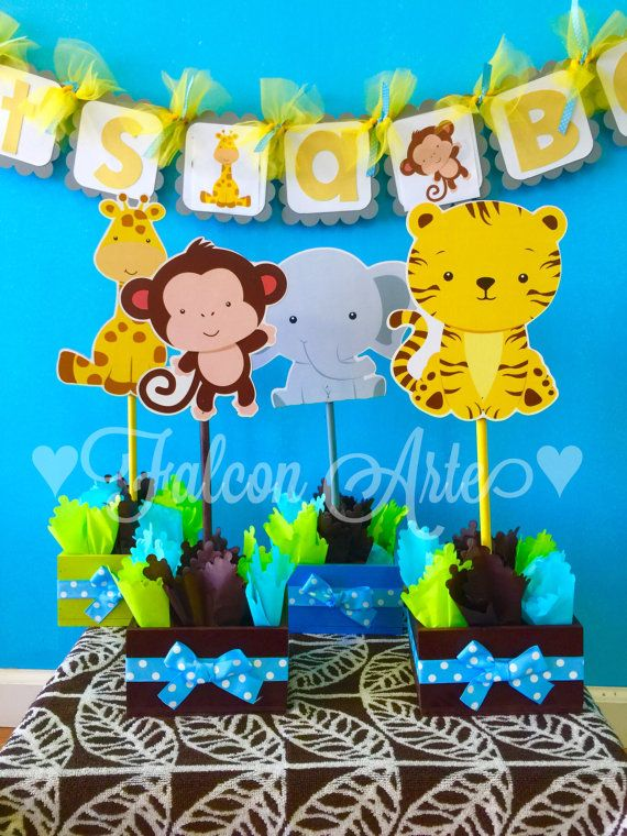 Jungle Safari Baby Shower or Birthday Centerpieces by FalconArte
