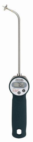 """Chaney 00798 Sure Grip Digital Burger Thermometer by Chaney Instruments. Save 15 Off!. $23.75. Easy to read LCD display. 1 AA battery included. 8"""" stainless steel probe with custom tip. Fahrenheit/Celsius selectable. Soft touch sure grip handle. Sure Grip Digital burger thermometer with soft touch sure grip handle and 8"""" stainless steel probe with custom tip. Fahrenheit/Celsius selectable.  Shatterproof crystal lens.  Easy to read LCD display with auto-off to conserve battery life.  1 ..."""