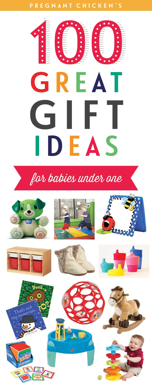 For when you're stumped at the next first birthday party you're invited to! 100 Great Gifts Ideas for Babies Under One | Pregnant Chicken