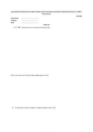 Soyut Cebir 2 Final Soruları 2010