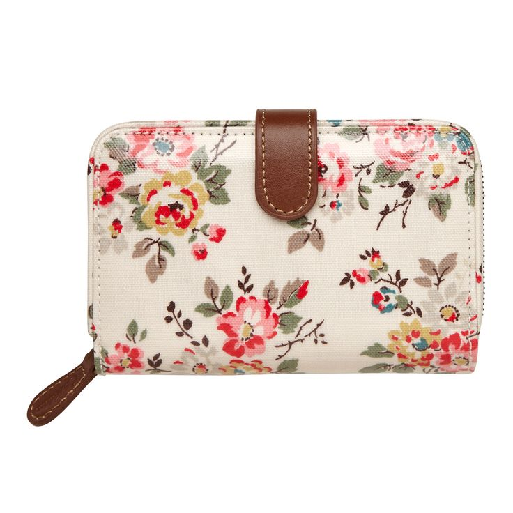 NEW wallets | Kingswood Rose Folded Zip Wallet with Leather | #CathKidston