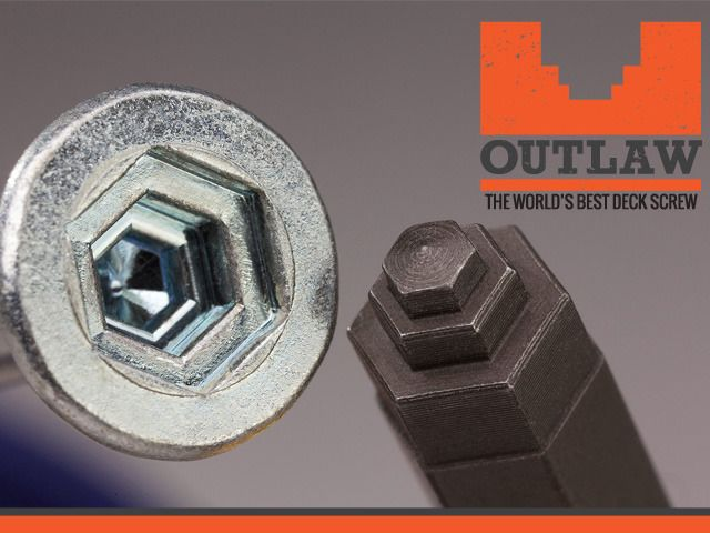 Screwing Reinvented: The World's Best Deck Screw by Outlaw Fasteners — Kickstarter.  A new, technologically innovative screw design which solves many of the age old problems related to poor screw performance.