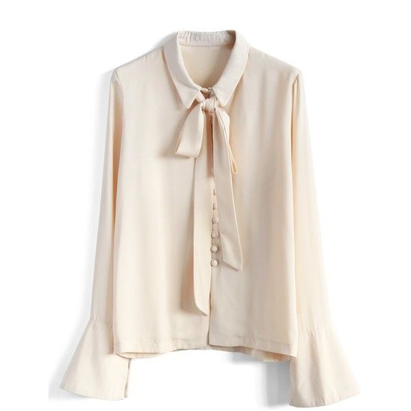 Chicwish Pretty Tie-neck Button-up Blouse (€43) ❤ liked on Polyvore featuring tops, blouses, beige, bell sleeve top, pink top, tie collar blouse, bell sleeve blouse and wrap blouse