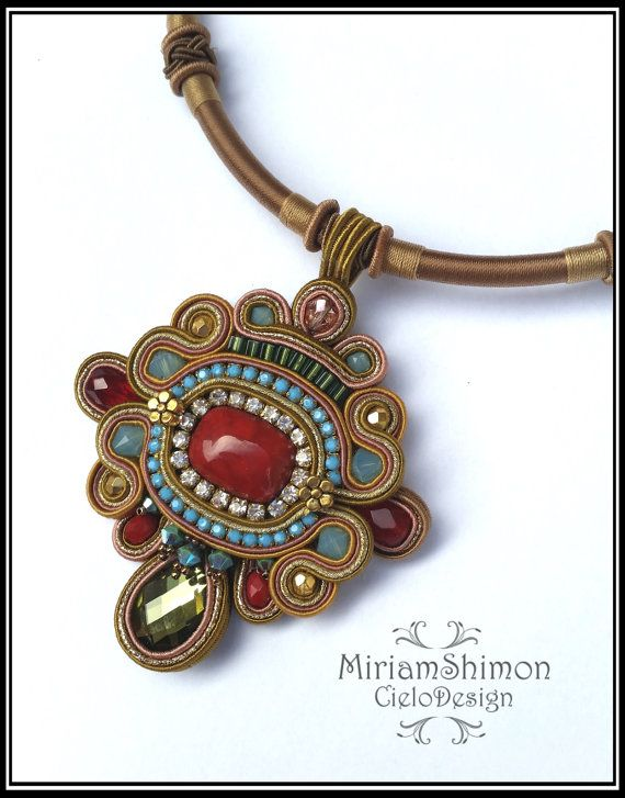 Soutache pendant in Mustard Turquoise Red and by MiriamShimon