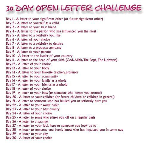 30 Day Letter Challenge