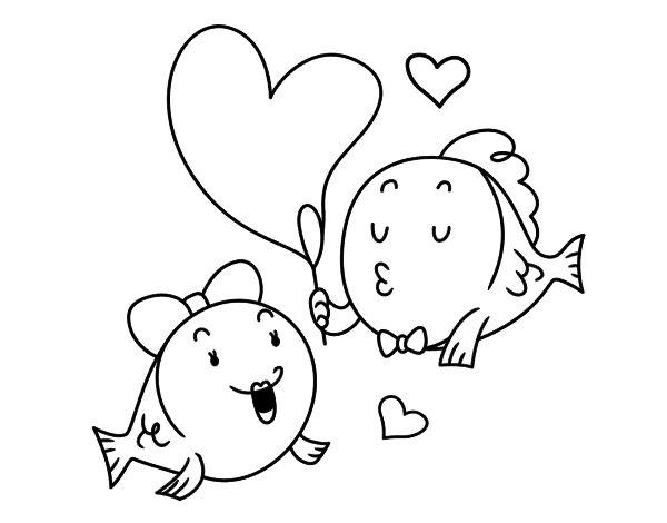 Dibujo de Pez enamorado para colorear