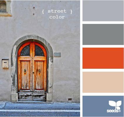 Orange and grey: Dining Rooms, Living Rooms, Design Seeds, Colors, Street Color, Color Palette, Colour Palette