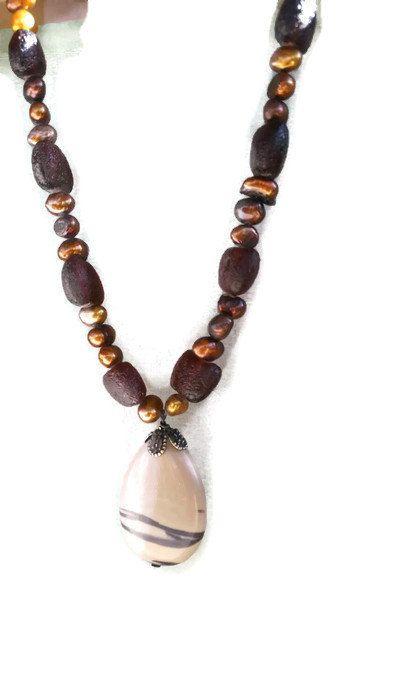 Jasper and pearl necklace - Jasper teardrop pendant - Jasper jewelry- beige necklace - brown statement necklace -pearl necklace - boho chic