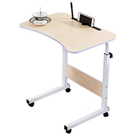 Wooden Adjustable Laptop Desk Bed Lap Stand Tray Side 4 Wheels Flexible Table