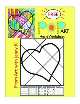 FREE!!! Pop Art heart worksheet!