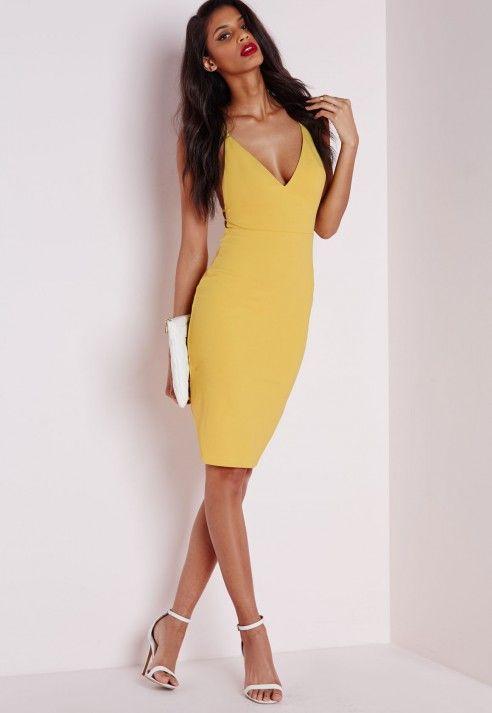Crepe Strappy Lace Back Midi Dress Yellow - Dresses - Midi Dresses - Missguided
