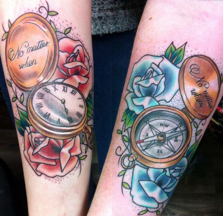 Compass and Pocket Watch tattoos. Friendship tattoos.