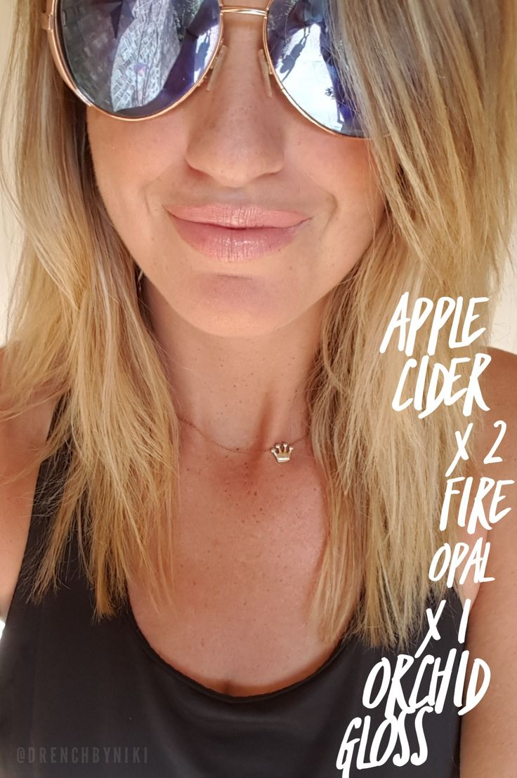 FIRE OPAL LIPSENSE layered with Apple cider!!  Created such a gorgeous color!  Lipstick that stays on all day!  Topped it off with Orchid Gloss!   Follow me on Pinterest or Facebook Drench By Niki