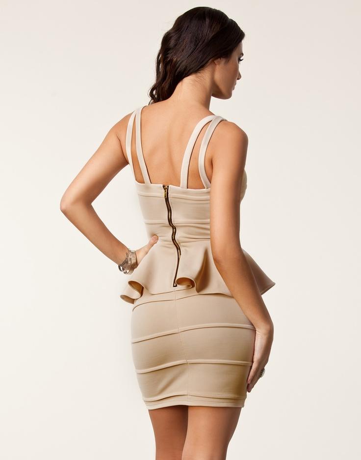 Peplum Bandage Dress - Rare London - Beige - Party dresses - Clothing - Clothing online NELLY.DE