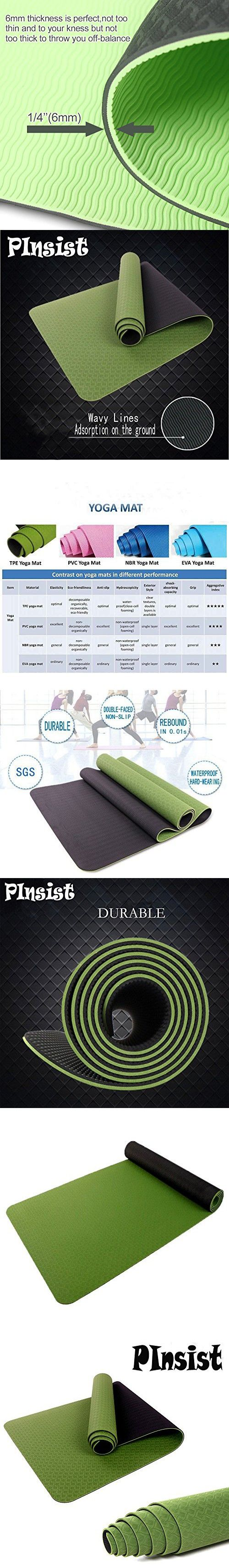 Yoga Mats, Pinsist Durable TPE 6mm Thick Non-Slip Anti-tear Exercise Mat with Carrying Strap For Hot Yoga Pilate Fitness Workout (Purple)