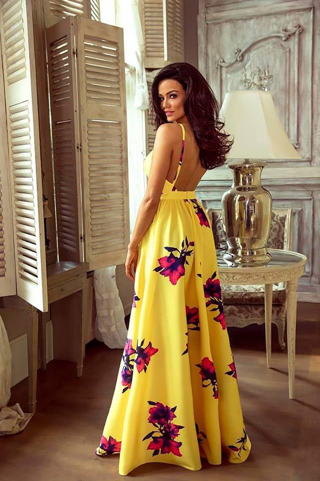 Zachwycajaca Dluga Suknia Gaja Zolta W Kwiaty Maxi Dress African Wear Dresses Latest African Fashion Dresses