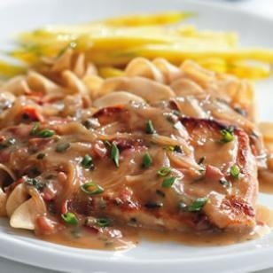 Low-Carb Dinner Recipes   Eating Well: Pork chops w a creamy marsala sauce